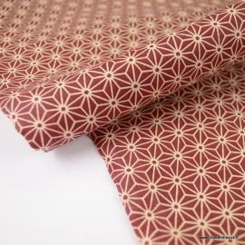 Tissu coton motif Asanoha étoile Burgendy