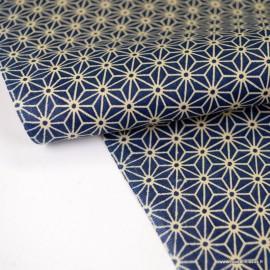 Tissu coton motif Asanoha étoile Marine