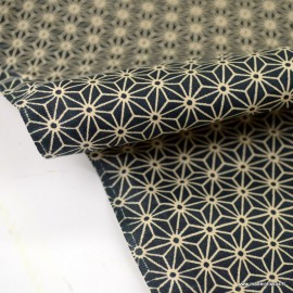 Tissu coton motif Asanoha étoile Noir