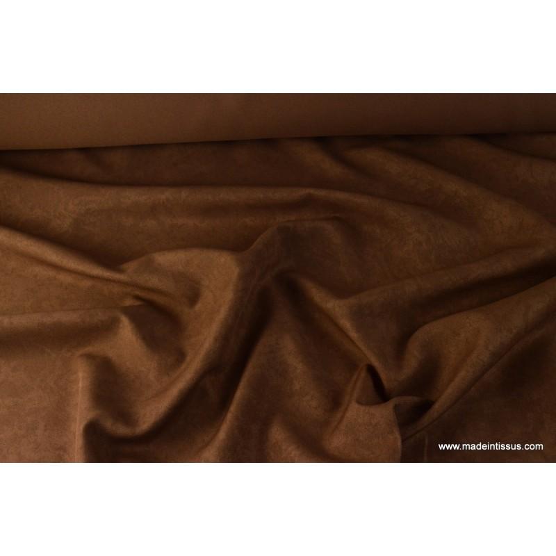 tissu faux uni chocolat pour nappe et d coration x 1m made in tissus. Black Bedroom Furniture Sets. Home Design Ideas