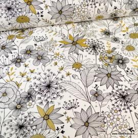 Demi natté coton type Canva motif Daisygold blanc, noir et or - oeko tex