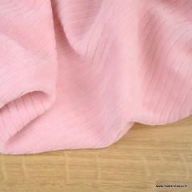 Tissu maille côtelé Babyrib Rose thé - jersey oeko tex
