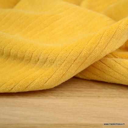 Tissu maille côtelé Babyrib moutarde - jersey oeko tex