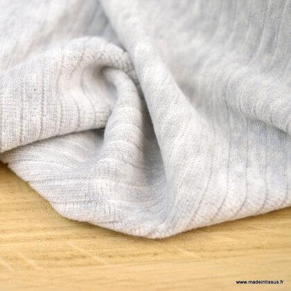 Tissu maille côtelé Babyrib gris chiné - jersey oeko tex