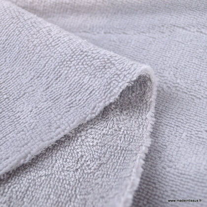 Tissu micro éponge de bambou gris - oeko tex