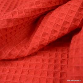 Tissu nid d'abeille Rouge - Oeko tex