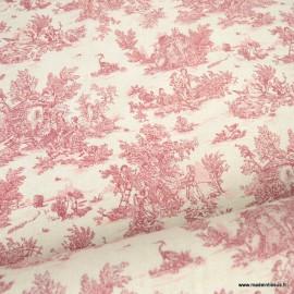 Tissu coton Mini Pastorale Toile de Jouy Lin et rouge - oeko tex