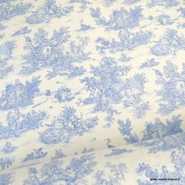 Tissu coton Mini Pastorale Toile de Jouy Lin et bleu - oeko tex