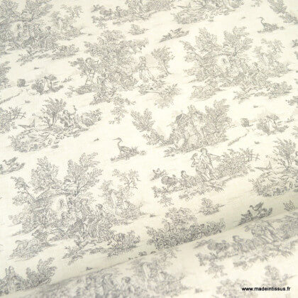 Tissu coton Mini Pastorale Toile de Jouy Lin et Noir - oeko tex
