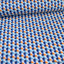 Tissu Coton Joplin motif Vintage Bleu -  Oeko tex