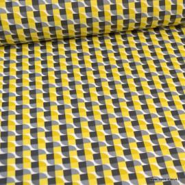 Tissu Coton Joplin motif Vintage Jaune et gris -  Oeko tex