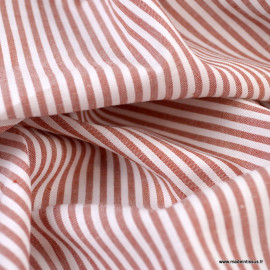 Tissu popeline coton rayures tissé teint coloris Terracotta