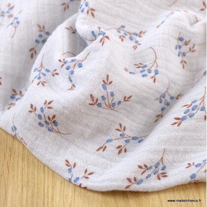 Double gaze de coton Bio Gots & oeko tex Simone motifs fleurs fond gris