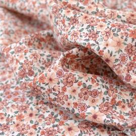 Sergé de coton Bio Gots & oeko tex à petites fleurs rose et marsala fond écru