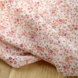 Sergé de coton Bio Gots & oeko tex Lison à petites fleurs rose et marsala fond écru
