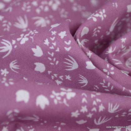 Tissu cretonne coton Gamina motifs fleurs fond bois de rose - oeko tex