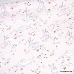 Tissu cretonne coton Tibois motifs fleurs et animaux fond rose - oeko tex
