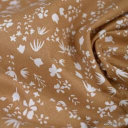 Tissu cretonne coton Gamina motifs fleurs fond cassonade - oeko tex