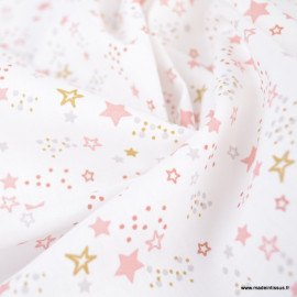 Tissu cretonne coton Lyra motifs étoiles roses et dorées fond blanc - oeko tex
