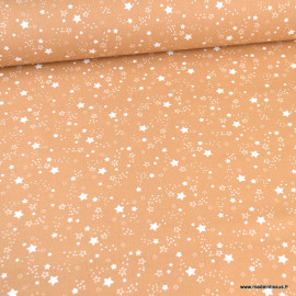 Tissu Bio cretonne coton Caelum motifs étoiles fond Camel - Gots & oeko tex