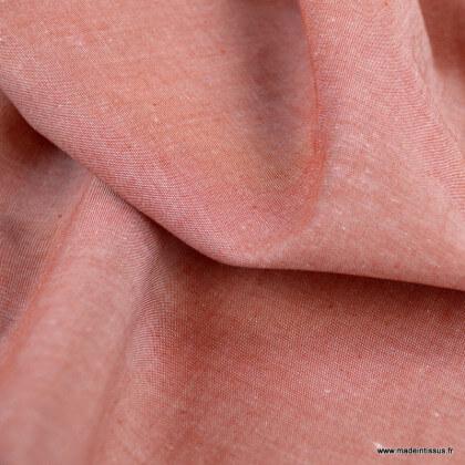 Tissu popeline chambray coloris Terracotta - oeko tex