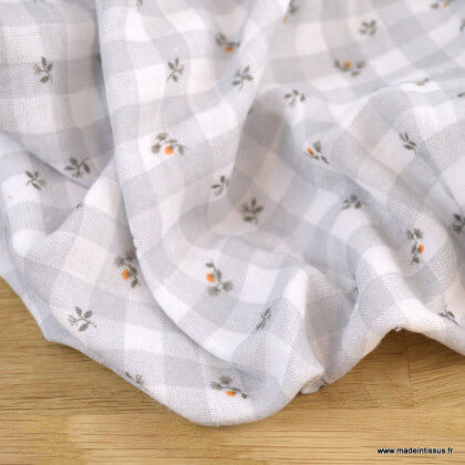 Double gaze de coton Bio Gots & oeko tex motifs vichy et fleurs gris et blanc