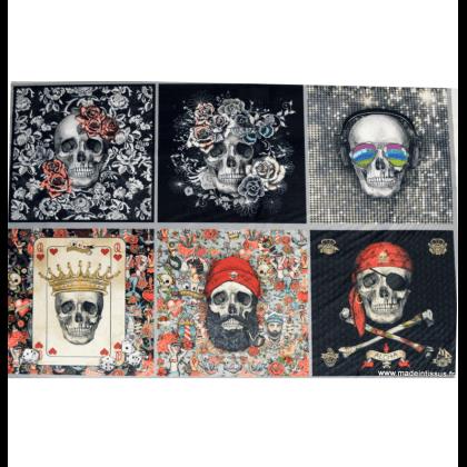 Tissu velours rasé Vanity Velvet en panneau de 6 motifs têtes de mort