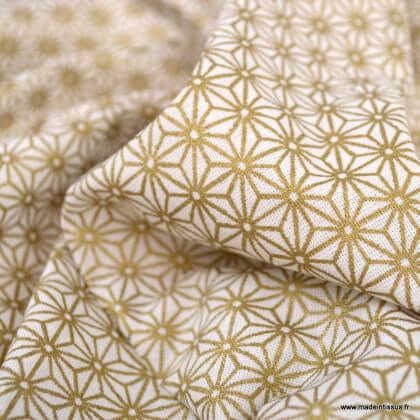 Tissu coton imprimé Saki Or - Oeko tex