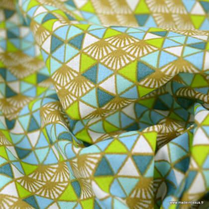 Tissu Coton Oeko tex Nippon motifs triangles Turquoise - Oeko tex