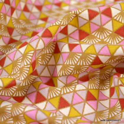 Tissu Coton Oeko tex Nippon motifs triangles Rose - Oeko tex