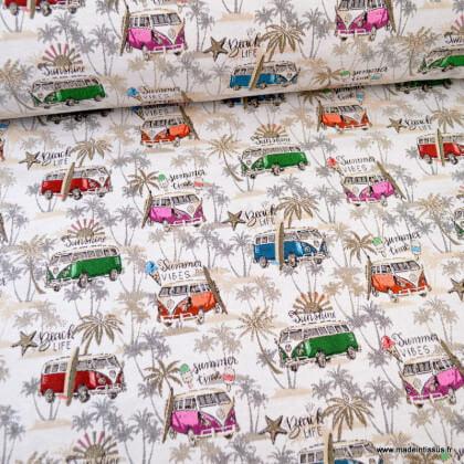 Tissu jacquard Malibu motifs Vans