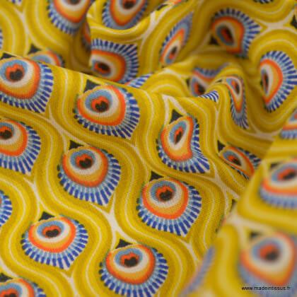 Tissu coton Enduit Peacock Jaune - Oeko tex