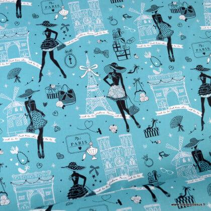 Tissu cretonne coton Oeko tex imprimé Moi Paris, Notre Dame, tour eiffel, arc de triomphe... fond canard