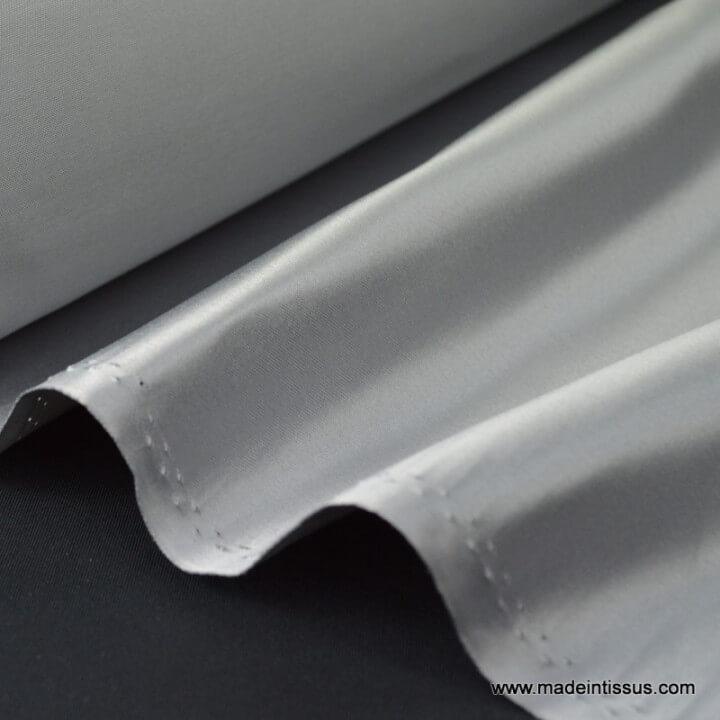 Satin duchesse polyester gris souris