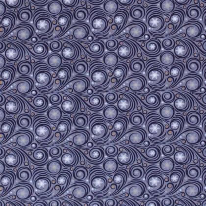 Tissu de Noël motif souffle du vent fond Indigo  - Oeko tex