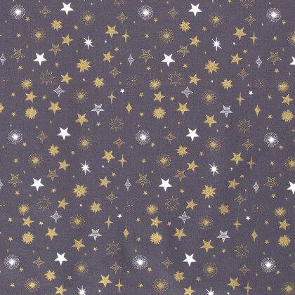 Tissu de Noël motif étoiles de noël or fond blanc cassé - Oeko tex