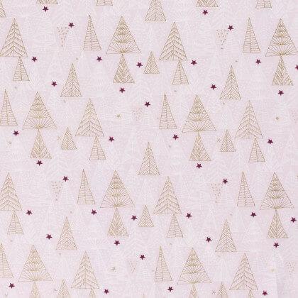 Tissu de Noël motif sapins or et étoiles de noël fond rose - Oeko tex