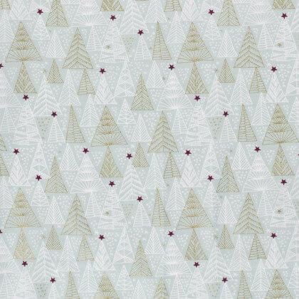 Tissu de Noël motif sapins or et étoiles de noël fond céladon - Oeko tex