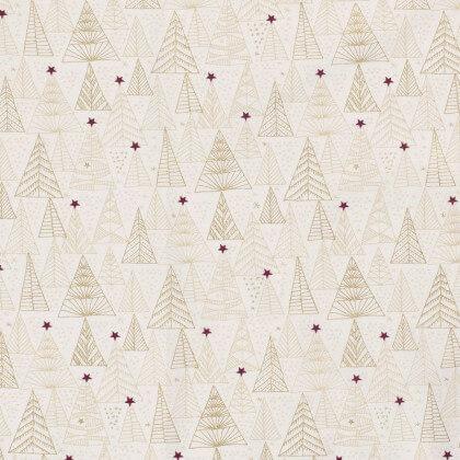 Tissu de Noël motif sapins or et étoiles de noël fond blanc cassé - Oeko tex
