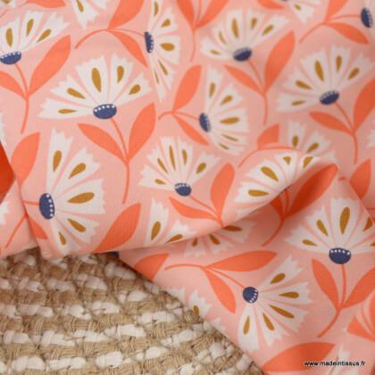 """Tissu Rayon """"Floral Deco"""" Daisy - Cloud 9"""