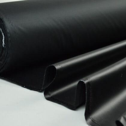 Tissu leger imperméable étanche polyester enduit acrylique noir .