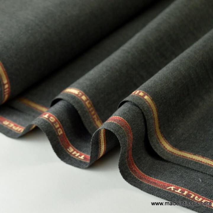 Tissu gabardine costume et confection gris