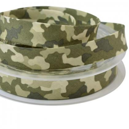 Biais replié 18 mm coton imprimé camouflage Kaki - Oeko tex