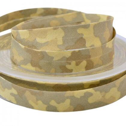 Biais replié 18 mm coton imprimé camouflage Beige - Oeko tex
