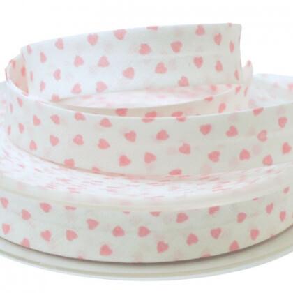 Biais replié 18 mm coton Coeurs Rose