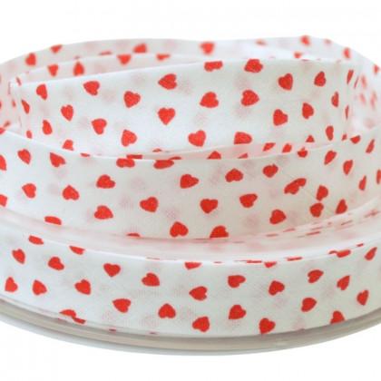 Biais replié 18 mm coton Coeurs Rouge