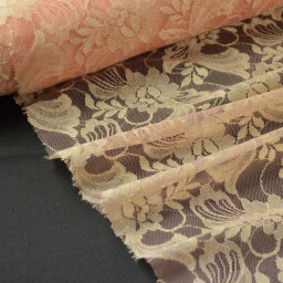 Tissu Dentelle pour robe de mariée corail/or .