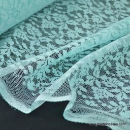 Tissu Dentelle fine turquoise pour robe de mariée .