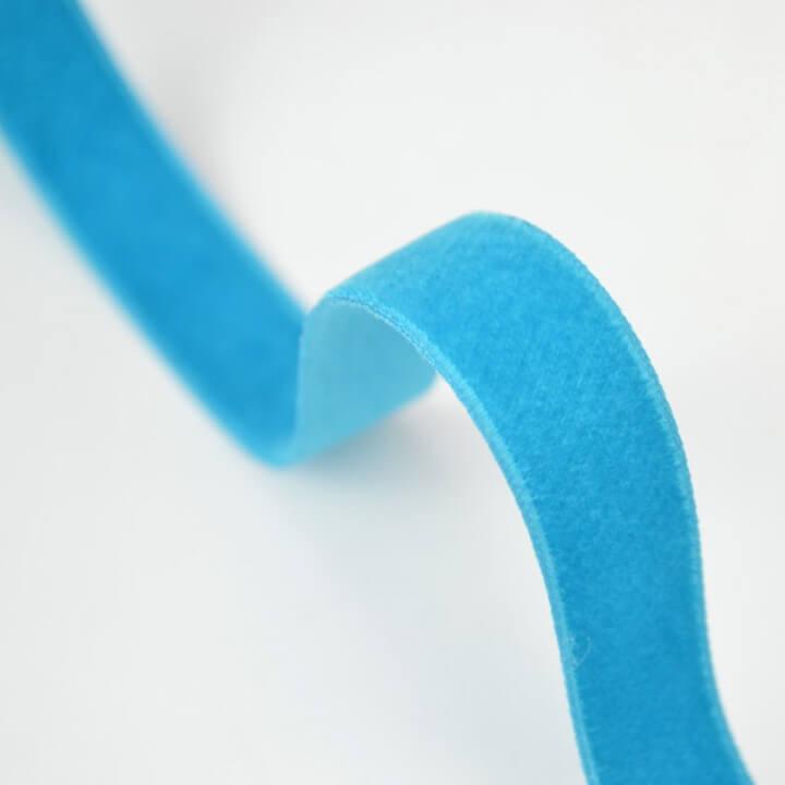 Ruban velours Bleu Turquoise, 16mm, au mètre