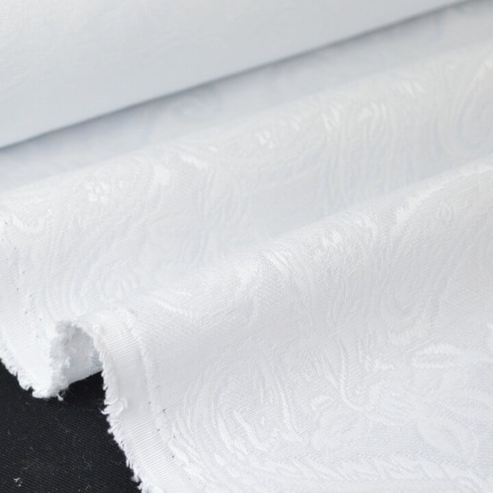 tissu Jacquard dessin cachemire blanc